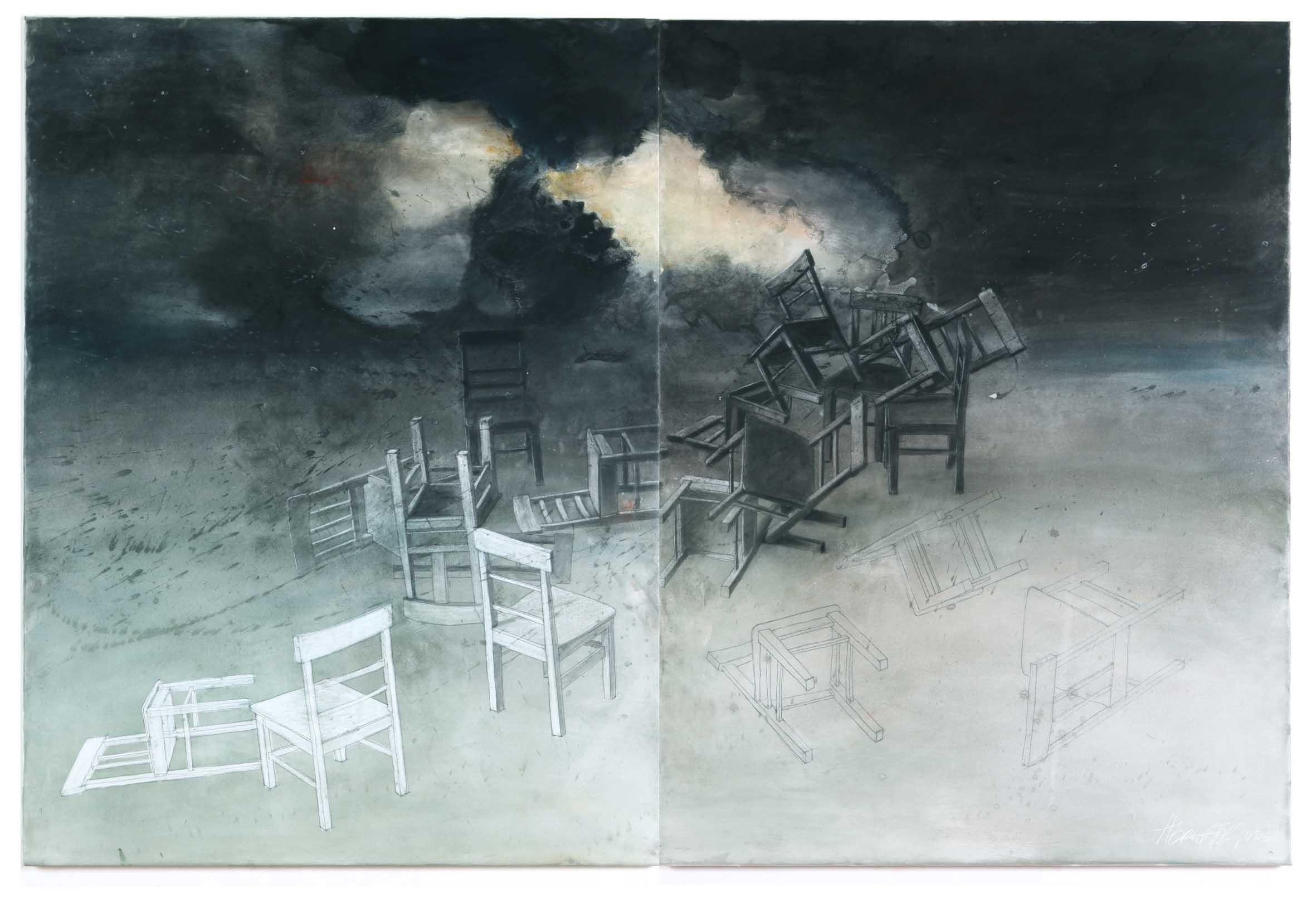 "Wolfgang Horwath, ""Freude schöner Götterfunken"", Pigment, Kreide/Leinwand – Diptychon, gesamt 120 × 180 cm, 2016"