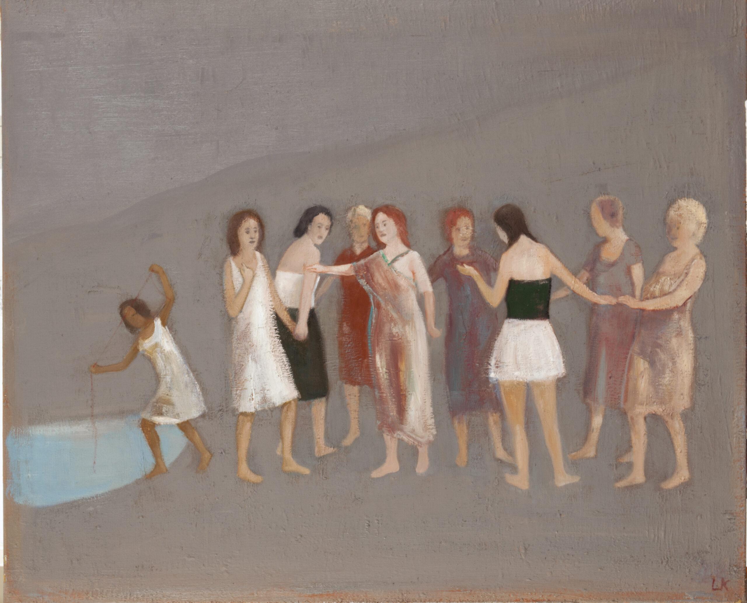 Leander Kaiser, Die Forderung, unterbrochener Kreis, Öl auf Leinwand, 90 × 110 cm, 2018