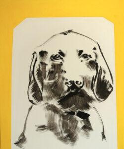 Titanilla Eisenhart, HUND (GELD) 60 × 50 cm Acryl auf Leinwand 2017