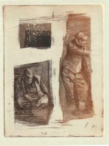 """Wolfgang Horwath, """"über-leben"""", Radierung 30 × 20cm Auflage 7/7+III"""